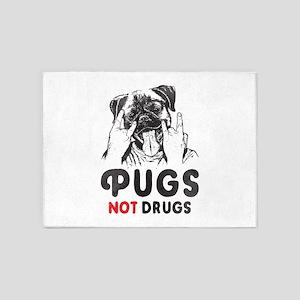 Pugs Not Drugs 5'x7'Area Rug