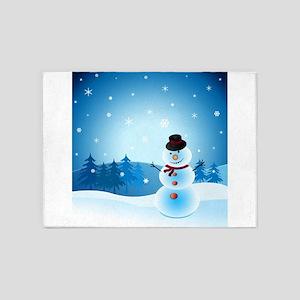 Holiday Snowman 5'x7'Area Rug