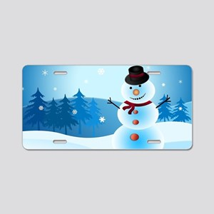 Holiday Snowman Aluminum License Plate