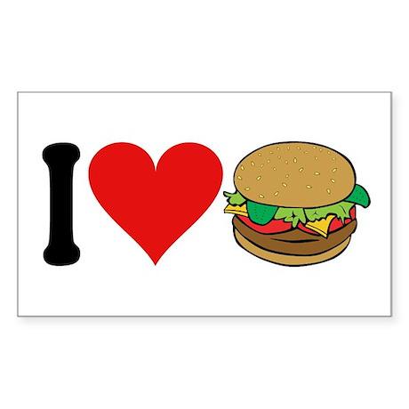 I Love Hamburgers (design) Rectangle Sticker