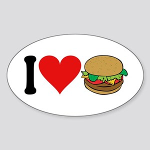 I Love Hamburgers (design) Oval Sticker