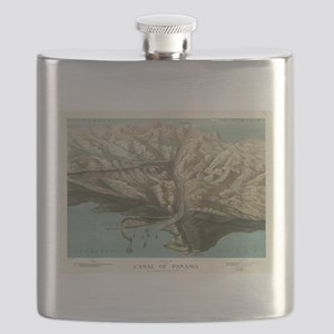 Vintage Pictorial Map of The Panama Canal (1 Flask