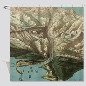Vintage Pictorial Map of The Panama Shower Curtain