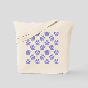 Blue Dog Paw Print Tribal Pattern Tote Bag