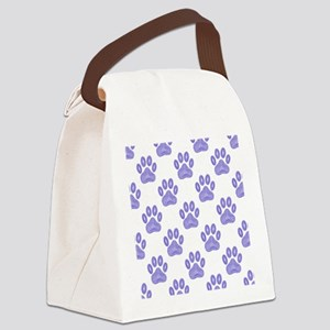 Blue Dog Paw Print Tribal Pattern Canvas Lunch Bag