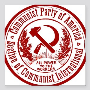 """Communist Party of America Square Car Magnet 3"""" x"""