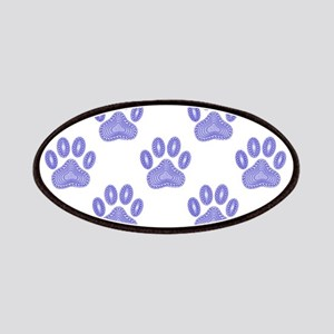 Dog Paw Print Tribal Pattern In Blue Patch