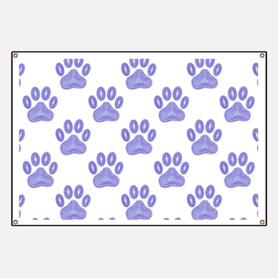 Dog Paw Print Tribal Pattern In Blue Banner