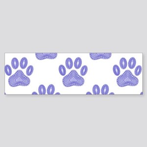 Dog Paw Print Tribal Pattern In Blu Bumper Sticker