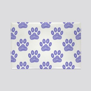 Dog Paw Print Tribal Pattern In Blue Magnets