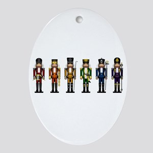 Nutcrackers in Rainbow Colors Oval Ornament