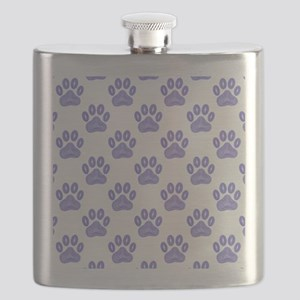 Dog Paw Print Tribal Pattern In Blue Flask