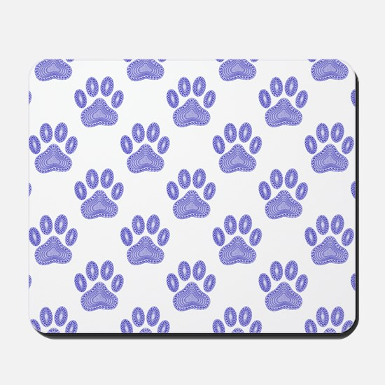 Dog Paw Print Tribal Pattern In Blue Mousepad