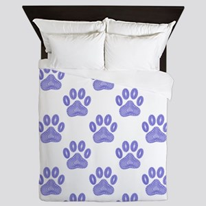 Dog Paw Print Tribal Pattern In Blue Queen Duvet