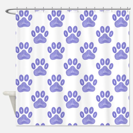 Dog Paw Print Tribal Pattern In Blu Shower Curtain