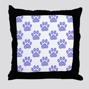 Dog Paw Print Tribal Pattern In Blue Throw Pillow