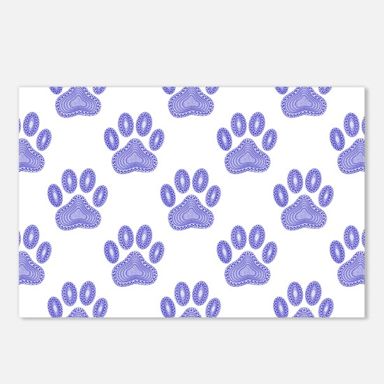 Dog Paw Print Tribal Patt Postcards (Package of 8)