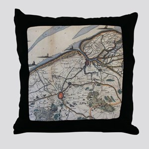 Vintage Map of Bruges Belgium (17th C Throw Pillow