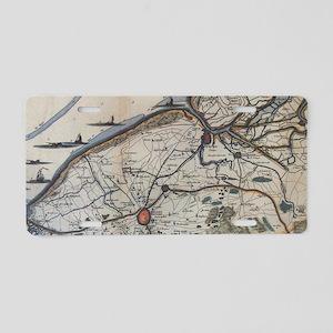 Vintage Map of Bruges Belgi Aluminum License Plate