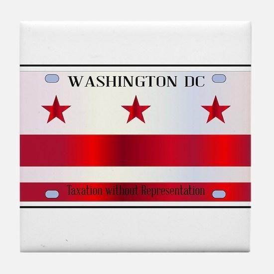 Washington DC License Plate Flag Tile Coaster