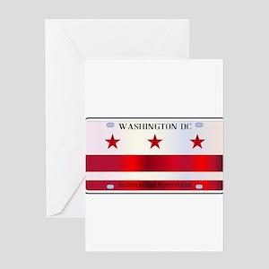 Washington DC License Plate Flag Greeting Cards