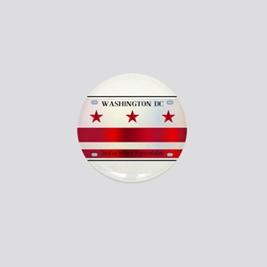Washington DC License Plate Flag Mini Button