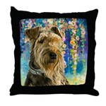 Airedale Painting Throw Pillow