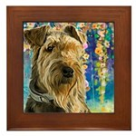 Airedale Painting Framed Tile