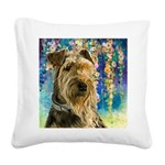 Airedale Painting Square Canvas Pillow