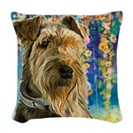 Airedale Painting Woven Throw Pillow