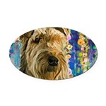 Airedale Painting Oval Car Magnet