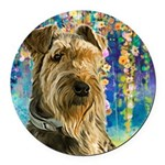 Airedale Painting Round Car Magnet