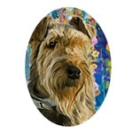 Airedale Painting Oval Ornament