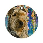 Airedale Painting Round Ornament