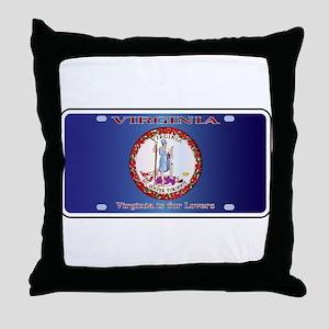 Virginia License Plate Flag Throw Pillow