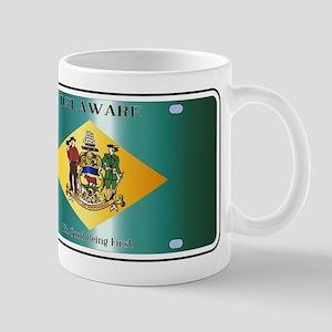 Delaware State License Plate Flag Mugs