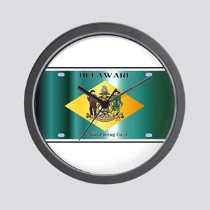 Delaware State License Plate Flag Wall Clock