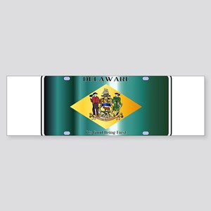 Delaware State License Plate Flag Bumper Sticker