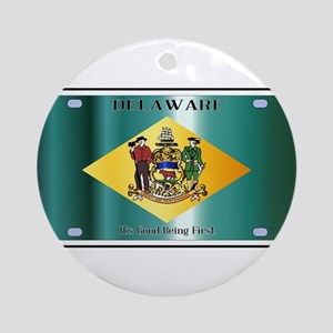 Delaware State License Plate Flag Round Ornament