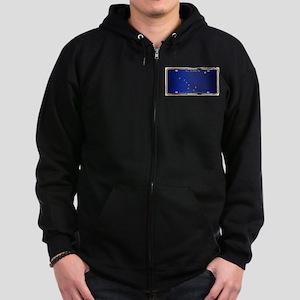 Alaska State License Plate Flag Zip Hoodie (dark)