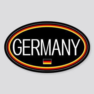 Germany: German Flag Oval (Black) Sticker (Oval)