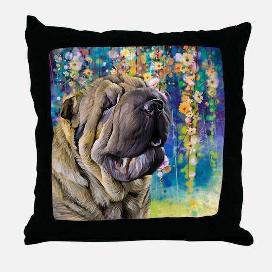 Shar Pei Painting Throw Pillow