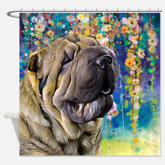 Shar Pei Painting Shower Curtain