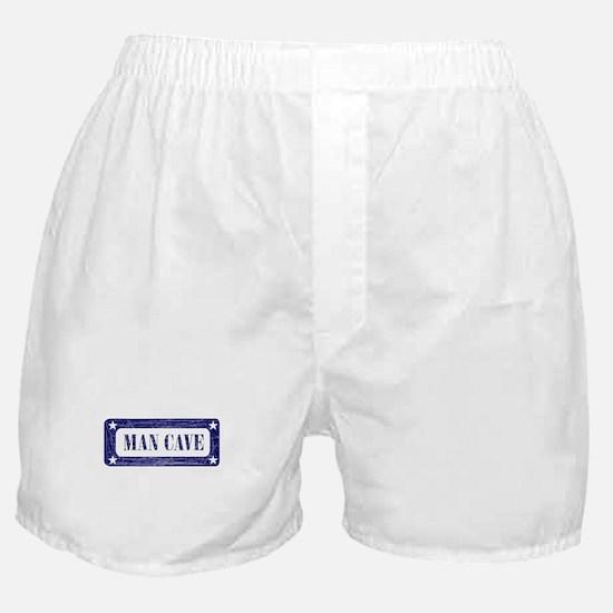 Blue Ink Stamp Man Cave Boxer Shorts