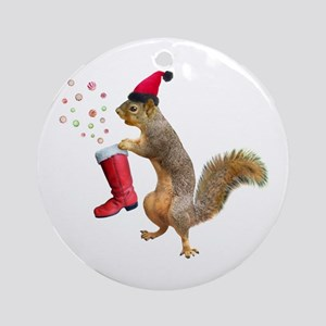 Squirrel Red Boot Round Ornament