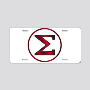 Sigma Greek Letter Aluminum License Plate