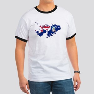 Falkland Islands Silhouette Flag Map T-Shirt