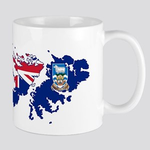Falkland Islands Silhouette Flag Map Mugs