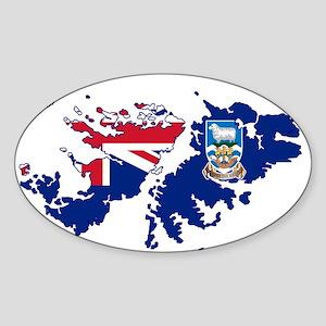 Falkland Islands Silhouette Flag Map Sticker
