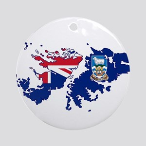 Falkland Islands Silhouette Flag Ma Round Ornament